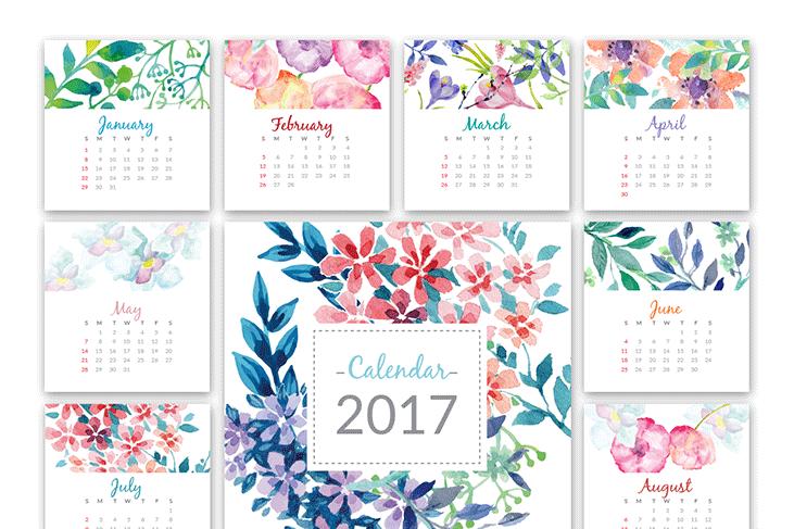 Kalendář s květinami