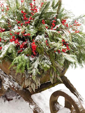 Stará zahradnická kolečka jako vánoční dekorace