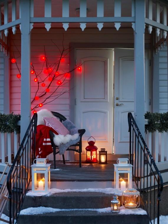 Vánoční lampy na schodech