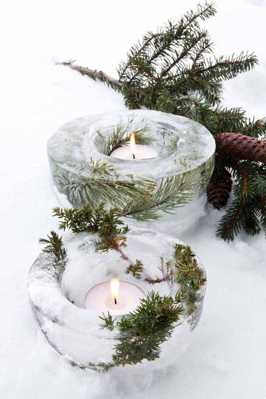Misky na svíčky vyrobené z ledu