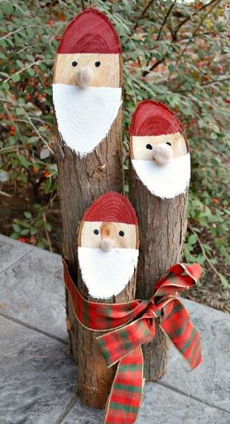 Vtipná vánoční polena jako postavičky
