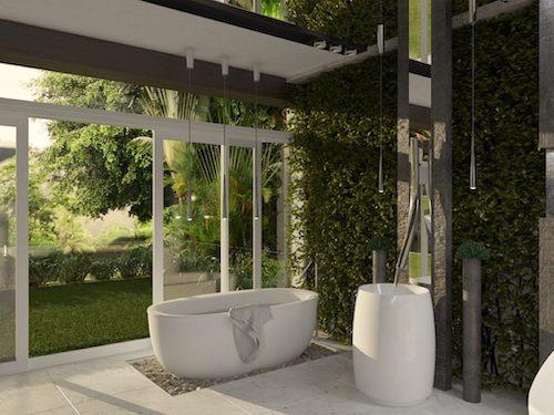 Koupelna se solitérní vanou a výhledem do zeleně